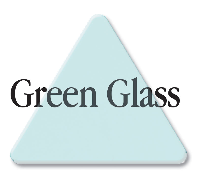 Cut Green Glass (3030) Acrylic Color Triangle as Color Sample - Click image for Green Glass example.