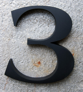 Americana Bold House Number In Cast, Brushed, Black-Anodized Aluminum - Tap for enlarged style set, available finishes, size & dimensions with links to Prices & Ordering
