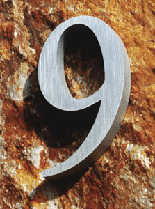 Times New Roman House Number in Clear-Anodized Cast Aluminum - Tap for Enlarged style Set, Sizes, Dimensions, Prices & Ordering Options